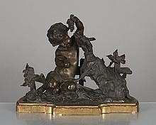sujet en bronze à patine médaille d'un enfant jouant avec une chèvre (allégorie de la vigne), XIXe