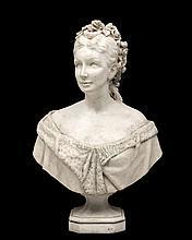 buste en marbre d'ADELE d'AFFRY, duchesse de Castiglione Colonna dite MARCELLO (1836-1879, CH),