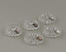 5 petits cendriers en cristal taillé et argent sterling .925, prov. P. Junod SA à la Place St.-François 8, 1000 Lausanne.