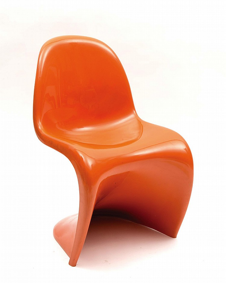 Chaise verner panton en plastique orange par fehlbaum septem for Peindre chaise plastique