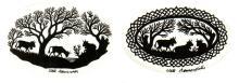 5 découpages d'exception pour collectionneur averti de Ueli Hauswirth 'Alpages' sbm, 3 dans un encadrement ovale et 2 dans un encadrement carré.
