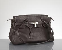sac porté épaule en cuir brun de type Birkin par Via Borgospesso Milano, Made in Italy, 2 anses, intérieur en cuir beige, poche latérale zippée et pochette latérale pour téléphone portable, cadenas et clef.