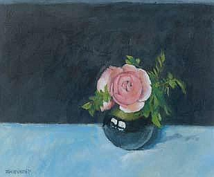 Brian Denington PINK ROSE Oil on Board 12.5