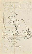 *Betjeman (John, 1906-1984). A small archive of letters, Christmas cards, a drawing, and newspaper cuttings by or relating to John Betjeman,