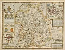 Shropshire. Speed (John), Shropshyre described, The Sittuation of Shrowesbury Shewed with the Armes of thos Earles and other Memorable things observed, published George Humble, circa 1627,