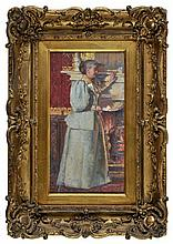 Sanderson-Wells (John, 1872-1955 ). - Lady by a mantelpiece holding a letter,