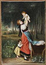 Porcelain plaque. - A young mother and her children in a landscape, mid 19th century,