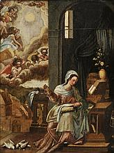 English School. - The Virgin Mary sewing, early to mid 18th century,