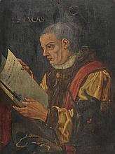 German School. - Portrait of St. Luke reading his gospel, with head of a black bull, 16th century,
