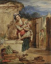 Frost (William Edward, 1810-1877). - Mother washing her child by a fountain,