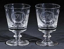 Rummers.  - A pair of William IV glass rummers,