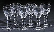 Port glasses.  - A set of six Georgian port glasses, circa 1760/70,