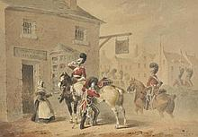 Hayes (Michael Angelo, 1820-1877). - The Sixth Dragoons on the march and taking refreshment, 1839/40,