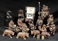 Black Forest.  - A collection of miniature Black Forest carved bears,