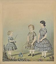 English school. - Three children playing, mid 19th century,