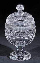 Honey jar.  - A Georgian cut glass honey jar and cover, circa 1825,
