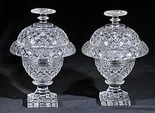 Comports.  - A fine pair of glass comports and covers, early 19th century,