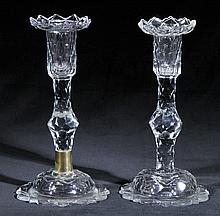 Candlesticks.  - A pair of George III glass candlesticks, circa 1760-70,