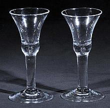 Bell Glass.  - A fine pair of George II glasses, circa 1730-40,