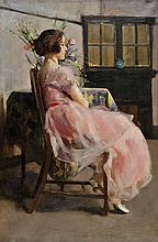 Newmarch (M.H., active 1924-1927) - Girl in a pink chiffon dress, seated by a table with flowers, early 20th century,