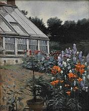 Garstin (Norman, 1847-1926). - Corner of a large garden with herbaceous border and greenhouse,