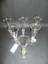 Champagne flutes.  - A matched set of six champagne flutes, early 19th century,
