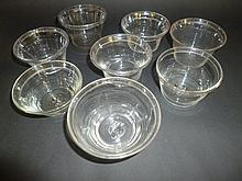 Pat, pans.  - Eight Georgian glass pat, pans,