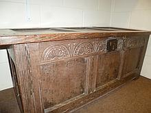 Coffer.  - A late 18th-century carved oak coffer,