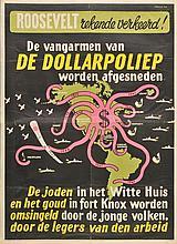 Propaganda Map. Roosevelt rekende verkeerd! De vangarmen van de dollarpoliep wor