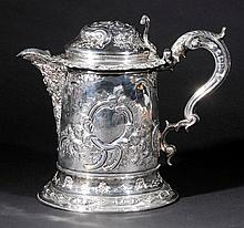 Flagon. A George III silver jug probably converted from a tankard, London 1790,