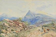 Burgess (John, 1814-1874). Snowdon from Llanberis Road, watercolour, showing a