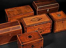 Tea Caddy. A George III satinwood tea caddy,  of rectangular form, the lid and