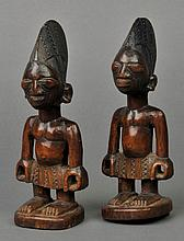 Nigeria. A pair of Yoruba tribe Ere Ibeji twins,  well carved with carved raise