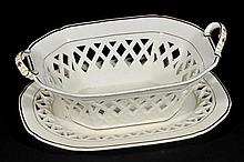Cream Ware. An 18th century twin handled chestnut basket,  of tapered form with