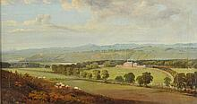 English School. Landscape with a country seat, circa 1810,  oil on canvas, show