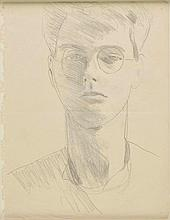 AR Hilton (Roger, 1911-1975). Self Portrait, pencil on paper, two creases where