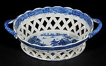 Chestnut Basket. An early 19th-century twin handle pottery blue and white chest