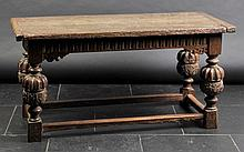 Table. A Charles I-period oak refectory table,  the rectangular top above carve