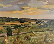 Freedman (Barnett, 1901-1958). Landscape with stooks, oil on canvas showing a pa