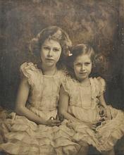 AR Princess Elizabeth and Princess Margaret. Portrait of the young princesses b