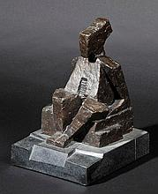 Hornung (Greta, 20th century). Seated Figure, circa 1970s, bronze sculpture with