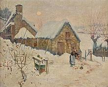 Ertz (Edward Frederick, 1862-1954). Winter Landscape with woman feeding geese,