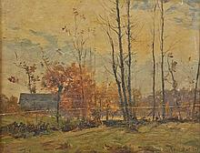 Baillet (Ernest, 1853-1902). Autumn Landscape,  oil on wood panel, signed lower