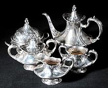 Art Nouveau. A silver-plated five-piece tea set by Reed & Barton,  comprising t