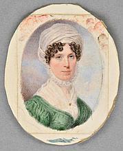 Turmeau (John, 1777-1846). Portrait of a lady, 1828, oval watercolour on ivory,