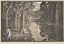AR Raverat (Gwen, 1885-1957). Boys Bathing, 1919,  woodcut on thin laid paper,