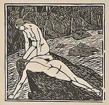 AR Raverat (Gwen, 1885-1957). The Bathers, 1920,  woodcut on japan, unsigned, i