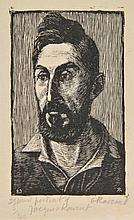 AR Raverat (Gwen, 1885-1957). Portrait of Jacques Raverat, 1925,  woodcut on ja