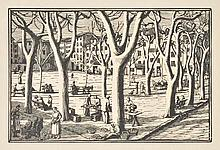 AR Raverat (Gwen, 1885-1957). La Place en Hiver, 1923,  woodcut on japan, unsig