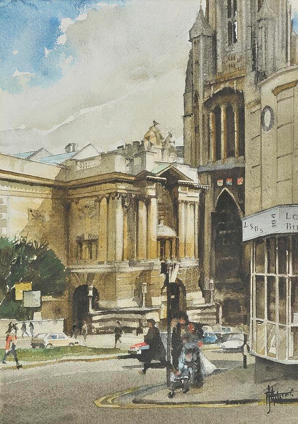 * Bristol & Bath. Three views of street scenes,